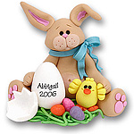 Tan Belly Bunny w/Chick & Egg Easter Figurine