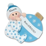 Baby Boy with Ornament Personalized 1st Christmas Ornament