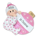 Baby Girl with Ornament Personalized 1st Christmas Ornament