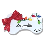 Dog Bone w/Christmas Lights Personalized Dog Ornament