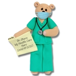 Belly Bear Covid-19  Nurse/EMT Hamdmade Polymer Clay Personalized Ornament - ON SALE!