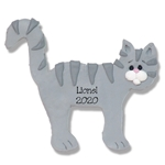 Gray Tabby Flat Cat w/White Muzzle Personalized Cat Ornament - Limited Edition