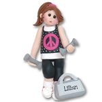 At the Gym Work Out Girl Personalized Ornament - Limited Edition