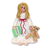 RESIN PJ Girl in Nightgown Brunette Personalized Ornament