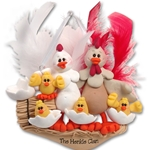 Half Baked Hen Family of 6 Family Ornament - Limited Edition