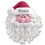 Santa Face w/Noodle Beard<br>Personalized Ornament - SMALL