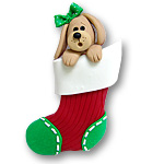 Girl Dog in Small Stocking<br>Personalized Dog Ornament