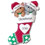 2 Cats in Stocking<br>Personalized Pet Ornament - Limited Edition