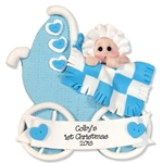 Baby Boy in Buggy Ornament Personalized 1st Christmas Ornament - Limited Edition