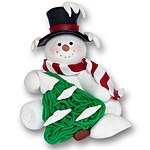 Sitting Snowman w/Tree<br>Personalized Ornament