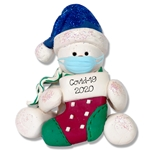 Covid-19 Sitting Snowman w/Stocking and Face Mask Pandemic / Coronavirus Personalized Ornament
