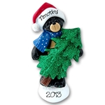 RESIN<br>Black Bear w/Tree<br>Personalized Christmas Ornament