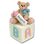 Bear on Block<br>Personalized<br>Baby Ornament