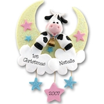 Cow Jumping Over Moon<br>Personalized<br>Baby Ornament