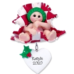 Baby in Red Blanket Personalized Baby Ornament - Limited Edition