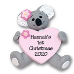 Koala Bear with Heart Personlized Christmas Ornament - Handmade POLYMER Clay - Limited Edition