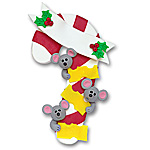 3 Mice on Candy Cane<br>Personalized Family Ornament