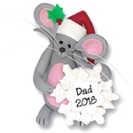 Merry Mouse w/Snowflake Personalized Ornament - Limited Edition