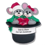 Marty Mouse Couple in Hat Family of 2  Personalized Couples Ornament  Limited Edition