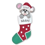 Christmas Mouse in Stocking Personalized Ornament  Limited Edition