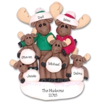 Mortimer Moose Family of 6 Personalized Ornament - Limited Edition