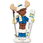 Mortimer Moose Skier Personalized Ornament Limited Edition