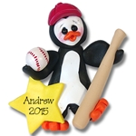 Baseball Petey Penguin<br>Personalized Ornament - Limited Edition