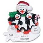 Petey & Polly Penguin Single Parent/Grandparent Ornament-2 Child ren RESIN