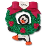 Christmas Petey Penguin w/Wreath Personalized Christmas Ornament Limited Edition