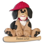 Puppy with Baseball & Bat - Handmade Polymer Clay Ornament - Limited Edition