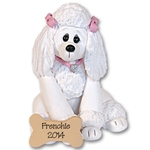 """Frenchie"" White Poodle<br>Dog Ornament"