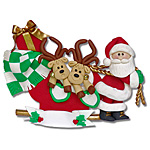2 Reindeer in Sled<br>Personalized Family Ornament