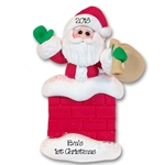 Santa in Chimney Personalized Christmas Ornament  - Limited Edition