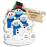 Covid-19 Corona Virus Snowman Family of 4 w/Face Masks Pandemic Ornament