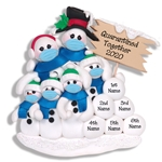 Covid-19 Corona Virus Snowman Family of 6 w/Face Masks Pandemic Ornament