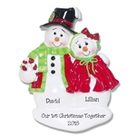 Snowman Couple  Personalized Christmas Ornament