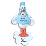 Stork w/Baby Boy<br>Personalized Baby Ornament