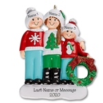 Ugly Sweater Family of 3 Personalized Christmas Ornament