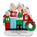 Ugly Sweater Family of 4 Personalized Christmas Ornament