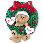 Golden Retriever<br>Hanging in Wreath<br>Personalized Dog Ornament