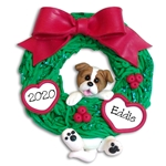 Jack Russell Hanging in Wreath Personalized Dog Ornament - Limited Edition