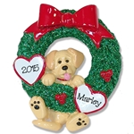 Yellow Lab<br>Hanging in Wreath<br>Personalized Dog Ornament