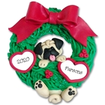Pug Hanging in Wreath Personalized Dog Ornament - Limited Edition