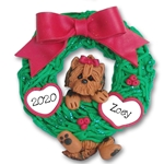 Yorkie Hanging in Wreath Personalized Dog Ornament - Limited Edition