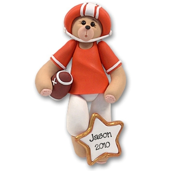 Orange Football Belly Bear<br>Personalized Ornament