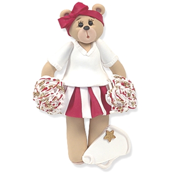 Red Cheerleader Belly Bear<br>Personalized Ornament