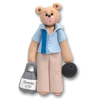 Bowler Belly Bear Personalized Ornament Limited Edition