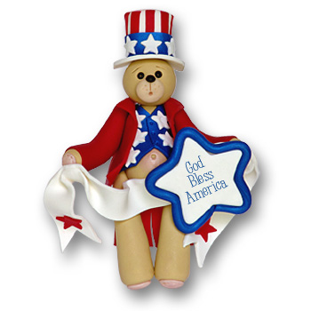 Patriotic Belly Bear<br>Personalized Ornament