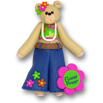 Belly Bear Girl Hippie<br>Personalized Ornament