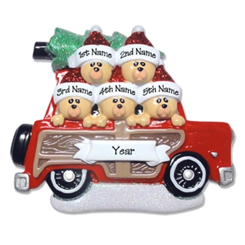 Belly Bear Family of 5<br>in Woody Wagon<br>RESIN Family Ornament